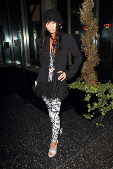 Bai Ling wears a baret with her quirky outfit.
