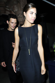 Amber Le Bon was seen at the Emporio Armani after-show party in an LBD styled by a long pendant necklace.