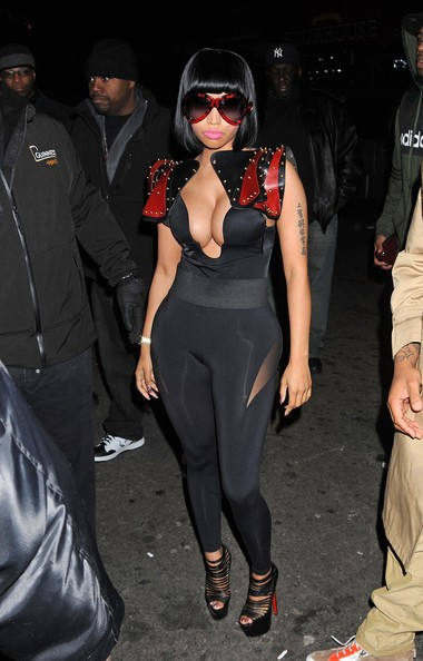 Nicki Minaj's strappy platform Christian Louboutin pumps gave the pop star a boost.
