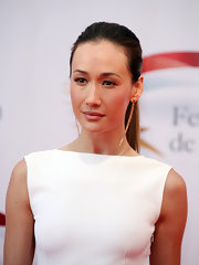 Maggie Q complemented her little white dress with a neat ponytail for a sleek finish at the Television Festival in Monte Carlo.