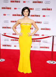 Jaimie Alexander stunned at the 'Iron Man 3' premiere with this sunshine yellow, strapless dress that featured a beaded neck detailing.