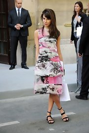 Caroline Sieber opted for flat Valentino sandals instead of heels to complete her girly outfit.