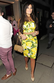 Jessica Wright stepped out in London wearing a pair of tan platform heels.