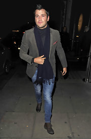 Mark Wright wore a navy wool scarf with his evening ensemble in London.