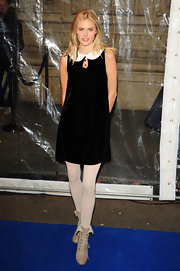 Donna Air looked sweet in a velvet Peter Pan collared shift dress for the 'Totem' show in London.