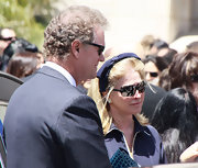 Kathy Hilton went to Peter Lopez's funeral wearing a pair of rimless sunglasses.