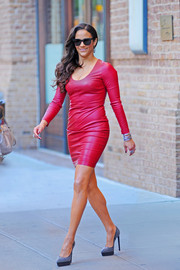 Paula Patton looked fab on the streets of New York City in studded platform pumps and a red leather dress.