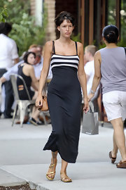 Paz de la Huerta looked alluring an a black and white sundress with a striped bodice while out on a stroll in New York.