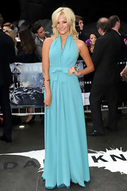 Pixie Lott brightened up the red carpet in a sky blue dress on a dreary day in London.
