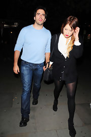Eli Roth exuded boyish charm in a pastel blue sweater.