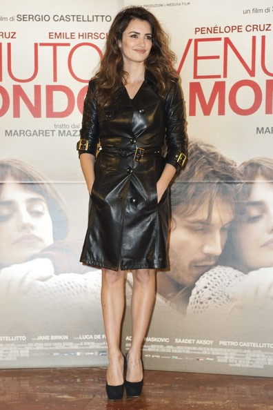 Penelope Cruz Leather Coat