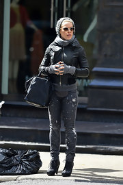 Pink sported a pair of skinny jeans with a cool splatter print while out in NYC.