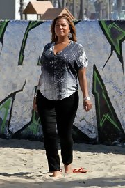 Queen Latifah opted for classic black skinny pants for her look while out in LA.