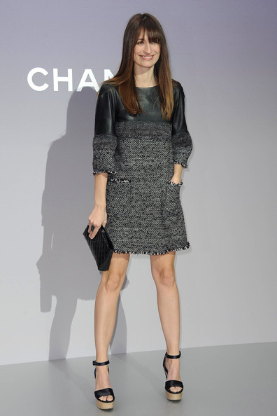 Carline De Maigret paired her tweed shift dress with platform sandals.