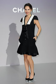 Virginie paired her black and white frock with platform pumps complete with metallic detailing.