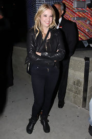 Ashley Benson dined out in Hollywood in a pair of black leather motorcycle boots.