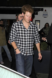 Prince Harry wore this basic plaid shirt while out for the night.
