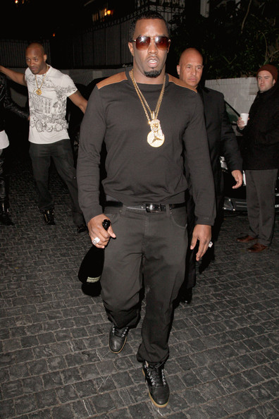 Sean Combs opted for a sleek black sweater with tan shoulders for his look while out at Chateau Marmont.