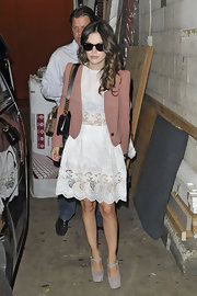 Rachel Bilson toned down the frills with a mauve cropped jacket.