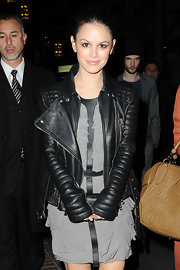Rachel donned a textured leather motorcycle jacket over her Burberry frock at the 'Waiting for Forever' premiere.