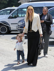 Rachel Zoe chose a cream blazer to pair with her black maxi while out with her son Skyler.
