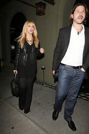 Rachel Zoe knew how to rock leather when she sported this leather jacket with gold zipper detailing.