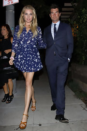 Rebecca was a doll in a blue print frock while out with her husband in LA.