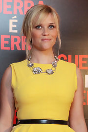 Reese Witherspoon wore a bold gemstone necklace at the Brazilian premiere of 'This Means War.'