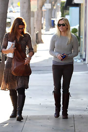 Reese Witherspoon was out and about in brown leather knee-high boots.