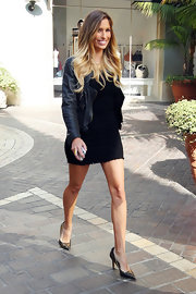 Renee Bargh toughened her sexy LBD with a leather jacket and stilettos.