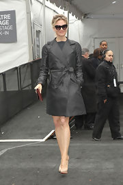 Renee Zellweger gave the classic trench a run for its money in a black leather version of the style staple.