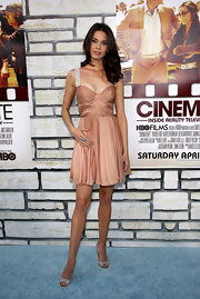 Shanna was a blushing beauty in a chiffon pleated cocktail dress at the premiere of 'Cinema Verite.'