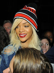 Rihanna went out for an evening in NYC wearing  rich brick-red lipstick.