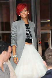 Rihanna showed off a sparkling bangle bracelet while making her way through London.