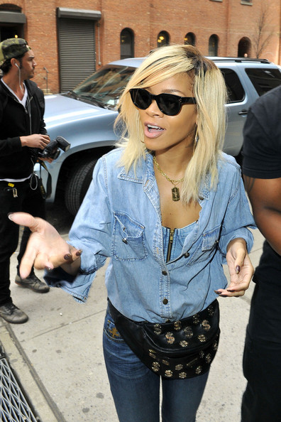 Rihanna in Rihanna Rocks Denim in NYC 2