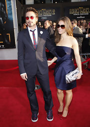 Robert looked Tony Stark-cool in a chic navy suit with printed sneakers and a matching printed silk tie.