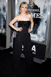 Rachel McAdams attended the premiere of 'Sherlock Holmes' wearing a jumpsuit with an embellished bodice.