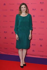 Julie Gayet's drop-waist frock looked classic and cool on the star.