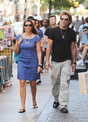 Dorothea Hurley strolled around SoHo with her husband in a casual blue sheath dress.