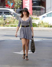 Rose wore a printed skater dress for her shopping trip in LA.