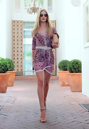 Rosie's silky paisley dress blended feminine hues with boho prints for a stunning street style moment.