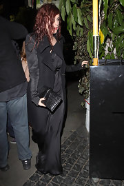 Rumer Willis teamed her darkly romantic look with a matching croc clutch.