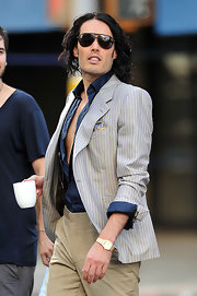 Russell Brand showed off his blazer while hitting the set of his new movie.