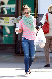Minka Kelly made an LA Starbucks run wearing a stylish seafoam green pashmina scarf.