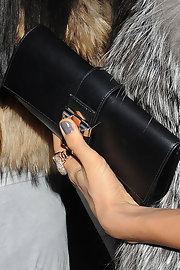 We caught a glimpse of Irina's gray nail polish for a dinner out.