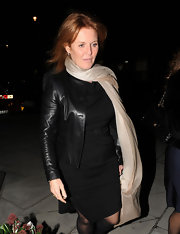 Sarah Ferguson drifted from her usual dress and blazer by wearing a leather jacket at the Locanda Locatelli.