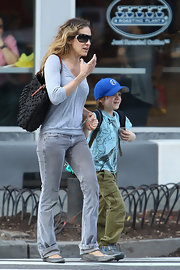 Sarah Jessica Parker took her son to Subway carrying a textured black tote with tan straps.