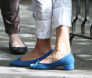 SJP rocked a pair of electric blue ballet flats while out in NYC.
