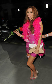 Una Healy was decked out in lots of pink for her bachelorette party and added some extra sparkle with satin crystal-encrusted peep toe pumps.