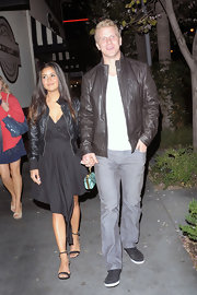 Sean Lowe chose a classic brown leather jacket for his evening look while out.